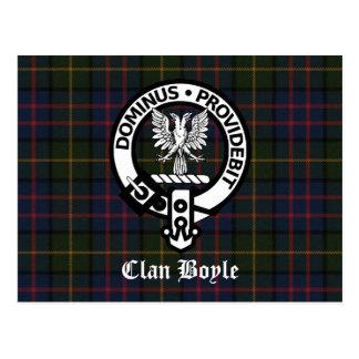 Carte Postale Crête et tartan de Boyle de clan