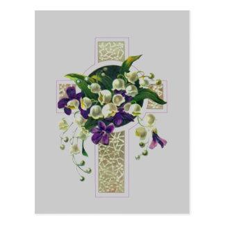 Carte Postale Croix argentée avec les fleurs pourpres