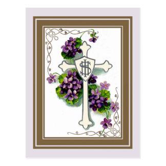 Carte Postale Croix avec les fleurs pourpres