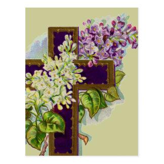 Carte Postale Croix pourpre avec des fleurs