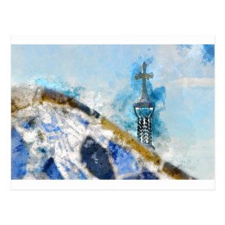 Carte Postale Croix religieuse à Barcelone Espagne