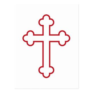 Carte Postale croix rouge d'apôtres ou croix bourgeonnée