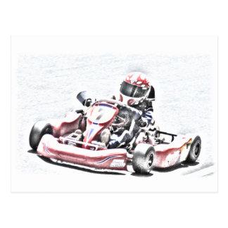 Carte Postale Croquis ombragé par coureur de kart