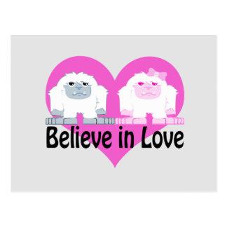 Carte Postale Croyez à l'amour ! Yetis mignons
