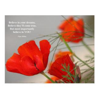Carte Postale Croyez le pavot de rouge de poème