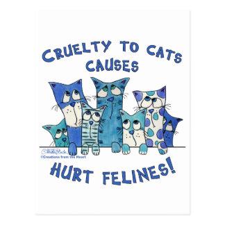 Carte Postale Cruauté blessée de Felines aux chats