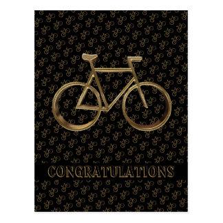 Carte Postale Cycliste de recyclage de bicyclette d'or élégante