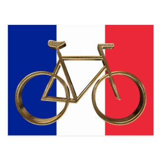 Carte Postale Cycliste de recyclage de drapeau de bicyclette