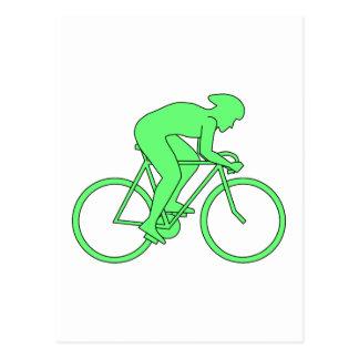 Carte Postale Cycliste en vert