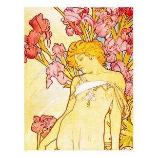 Carte postale d iris d Alphonse Mucha