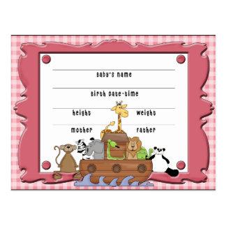 Carte postale d'acte de naissance de bébé de
