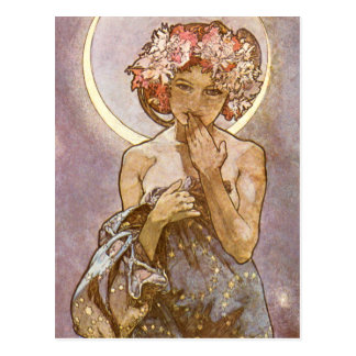 Carte Postale ~ d'Alphones Mucha la lune 1902