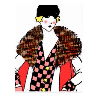 Carte Postale dame à la mode