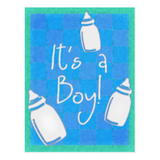Carte Postale Damier bleu c'est un garçon !