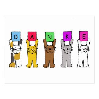 """Carte Postale Danke, chats indiquant des """"mercis"""" en allemand"""