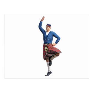 Carte Postale Danseur écossais avec la main droite
