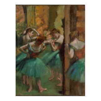 Carte Postale Danseurs rose et vert d'Edgar Degas