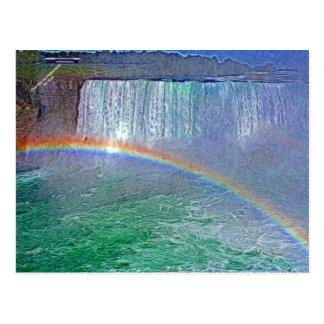 Carte postale d'arc-en-ciel de cascades de Niagara