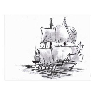 Carte postale d'art de bateau de galion de