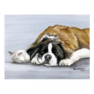 Carte postale d'art de chien de St Bernard et de