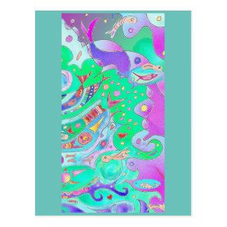 Carte postale d'art de queues