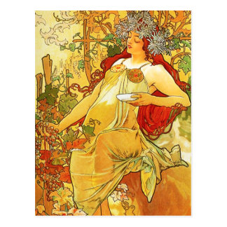 Carte postale d'automne d'Alphonse Mucha