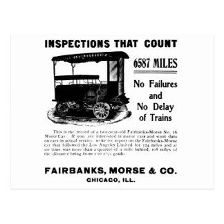 Carte postale d'automobile d'inspection de voie de