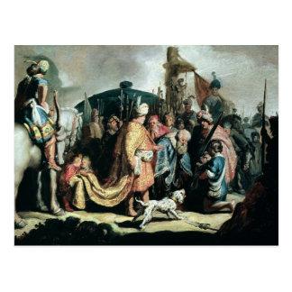 Carte Postale David offrant la tête de Goliath au Roi Saul