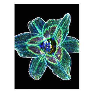 Carte Postale Daylily bleu au néon