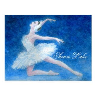 Carte postale de ballet de lac swan