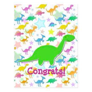 Carte postale de bande dessinée de dinosaures de