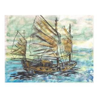 Carte postale de bateau de Chinois