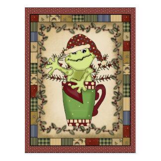 Carte postale de café de vacances de grenouille de