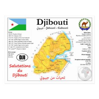 Carte postale de carte de Djibouti
