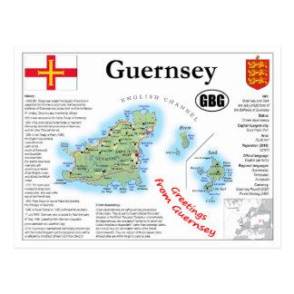 Carte postale de carte de Guernesey