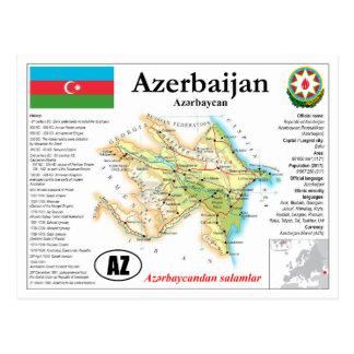 Carte postale de carte de l'Azerbaïdjan