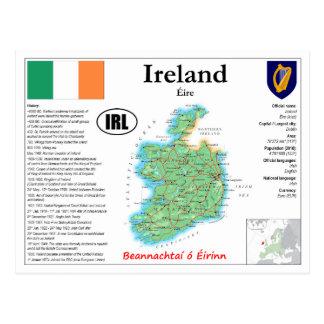 Carte postale de carte de l'Irlande