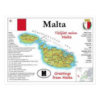 Carte postale de carte de Malte