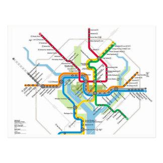 Carte postale de carte de Washington D.C. Metro