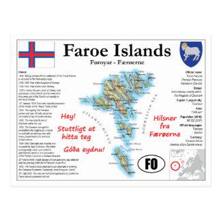 Carte postale de carte des Iles Féroé