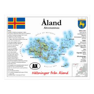 Carte postale de carte d'îles de Åland (Aland)