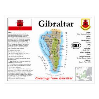 Carte postale de carte du Gibraltar