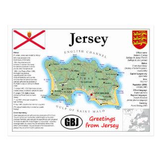 Carte postale de carte du Jersey