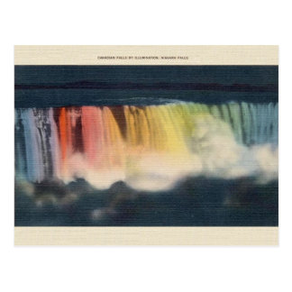 Carte postale de chutes du Niagara lumineuse par