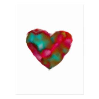 Carte postale de coeur de framboise/turquoise
