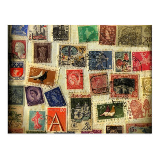 Carte postale de collection de timbre