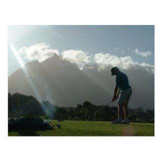 Carte postale de conception de golfeur