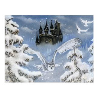 Carte postale de conte de fées d'hiver de château