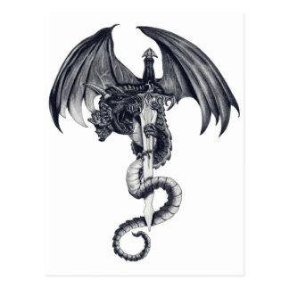 Carte postale de dragon et d'épée