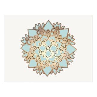 Carte postale de fleur de Lotus de bleu et d'or